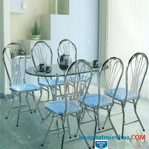 Bộ bàn ghế ăn Hòa Phát chất liệu inox